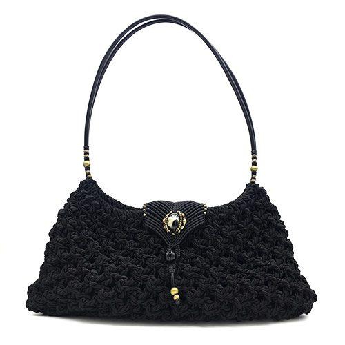 Bolso color negro colección Girona XL - Macramé - Marina Grafeuille
