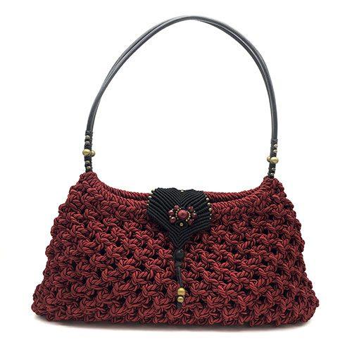 Bolso color rojo colección Girona XL - Macramé - Marina Grafeuille