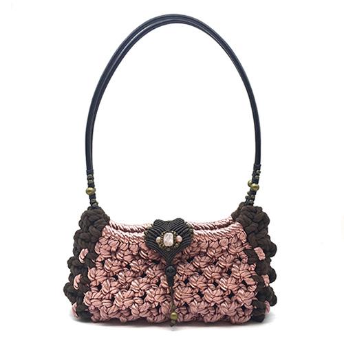 Bolso color rosa marrón colección Girona - Macramé - Marina Grafeuille