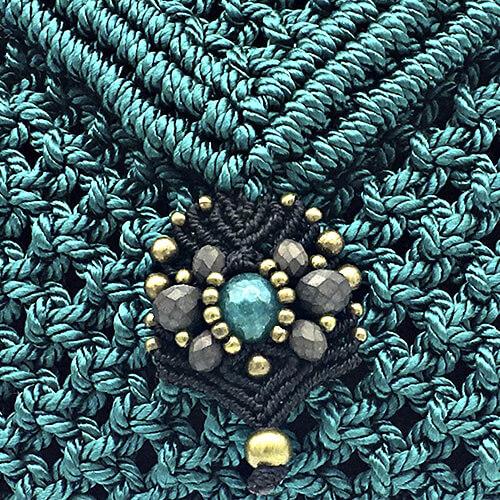 Detalle bolso color verde turquesa colección Sitges - Macramé - Marina Grafeuille