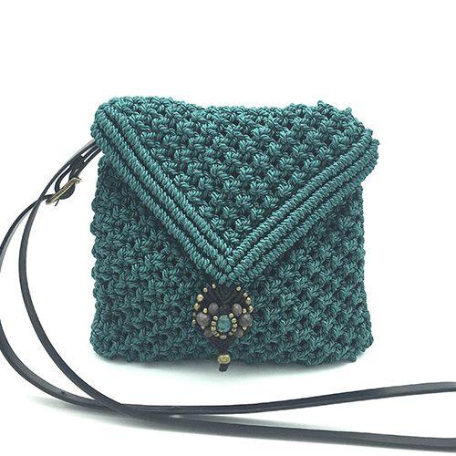 Bolso color verde turquesa colección Sitges - Macramé - Marina Grafeuille