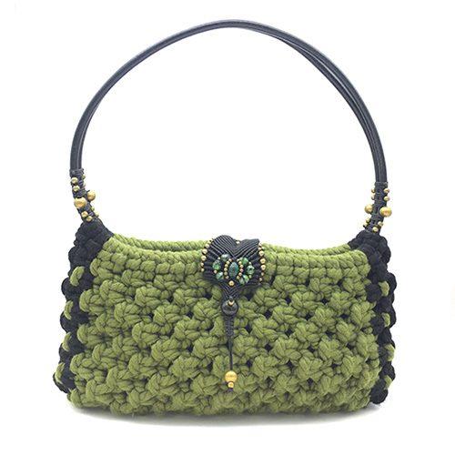Bolso color verde colección Girona - Macramé - Marina Grafeuille