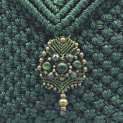 Detalle bolso color verde malaquita colección Sitges - Macramé - Marina Grafeuille
