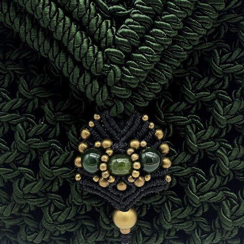 Detalle bolso color verde malaquita colección Valls - Macramé - Marina Grafeuille