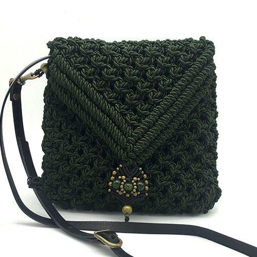 Bolso color verde malaquita colección Valls - Macramé - Marina Grafeuille