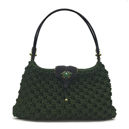 Bolso color verde malaquita colección Girona XL - Macramé - Marina Grafeuille