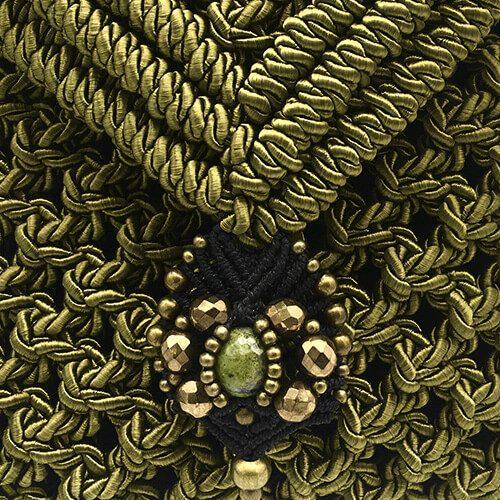 Detalle bolso color verde oliva colección Valls - Macramé - Marina Grafeuille