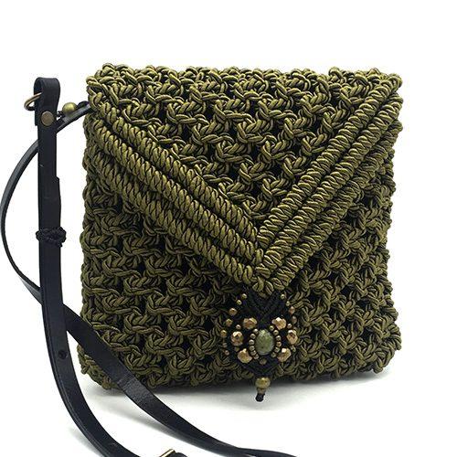 Bolso color verde oliva colección Valls - Macramé - Marina Grafeuille