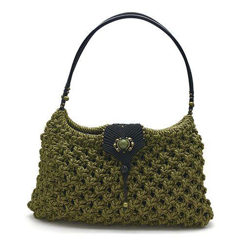 Bolso color verde oliva colección Girona XL - Macramé - Marina Grafeuille