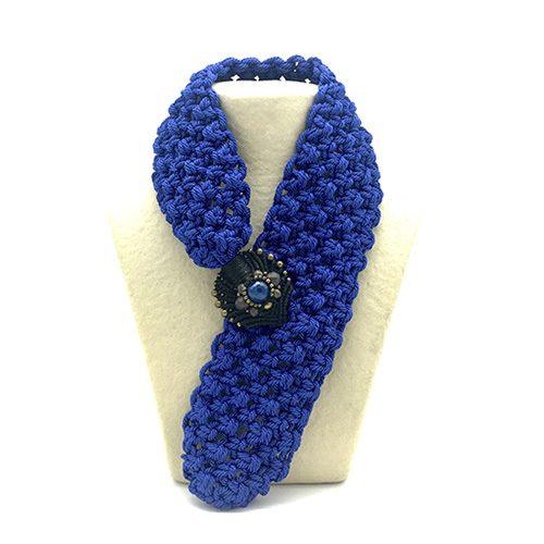 Collar azul francia colección Montblanc - Macramé - Marina Grafeuille
