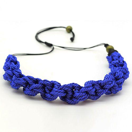 Detalle collar color azul francia colección Pineda - Macramé - Marina Grafeuille