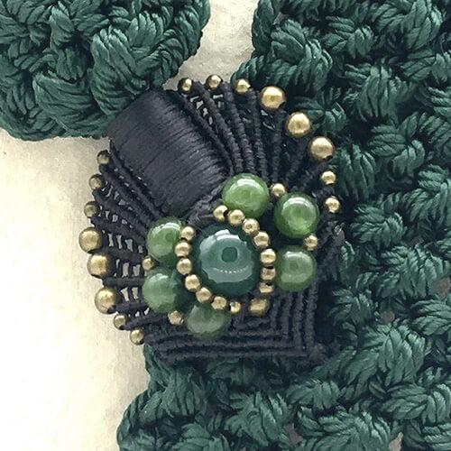 Detalle collar color verde malaquita colección Montblanc - Macramé - Marina Grafeuille