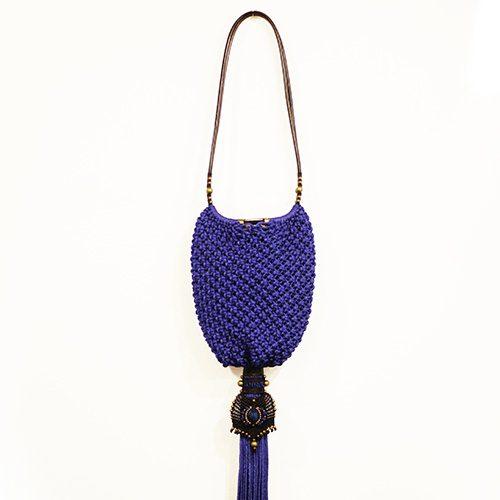 Bolso color azul francia colección Cadaquez - Macramé - Marina Grafeuille