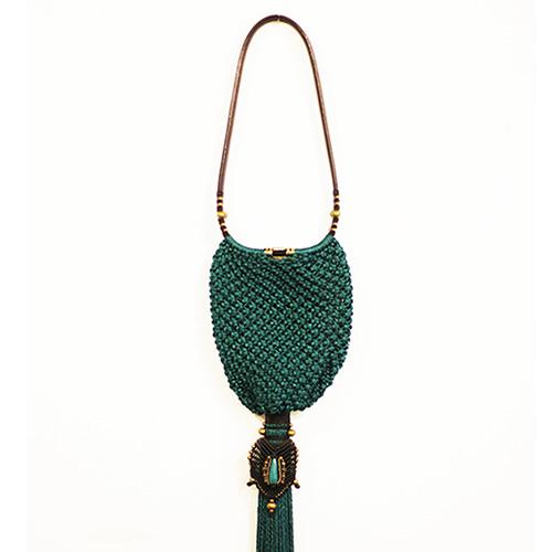 Bolso color turquesa oscuro colección Cadaquez - Macramé - Marina Grafeuille