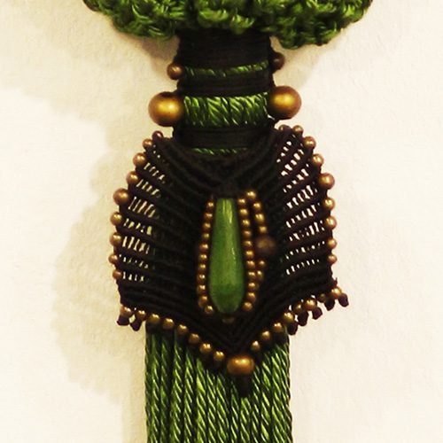 Detalle del bolso color verde manzana colección Cadaquez - Macramé - Marina Grafeuille